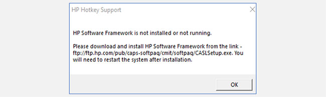 loi hp software framework is not installed 1